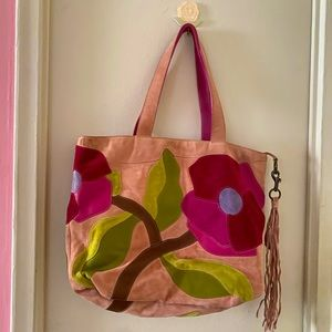 Coach Poppy Pink Suede Flower Shoulder Tote Bag